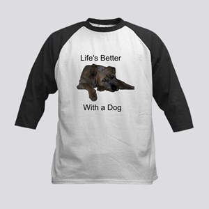 Life's Better With a Dog Kids Baseball Jersey