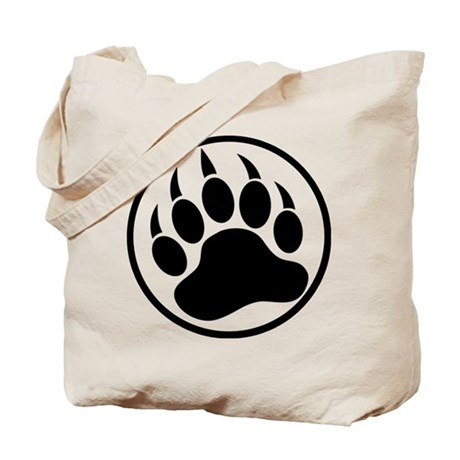 Classic black bear claw inside a black ring. Tote