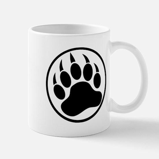Classic black bear claw inside a black ring. Mug