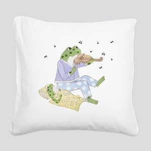 Music Frogs Square Canvas Pillow