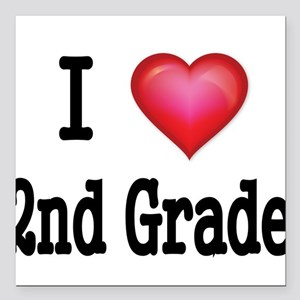 "I LOVE 2ND GRADE Square Car Magnet 3"" x 3"""
