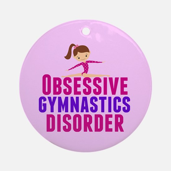 Gymnastics Obsessed Round Ornament