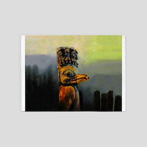 Raven Totem Pole 5'x7'Area Rug