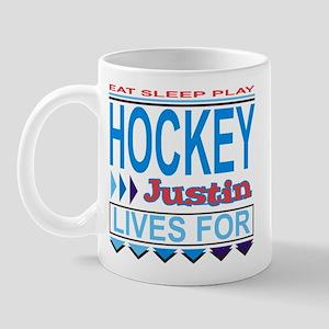 Justin Lives for Hockey Mug
