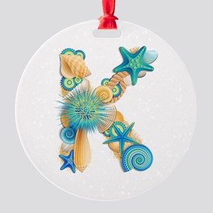 Beach Theme Initial K Ornament
