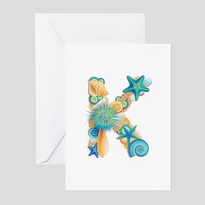 Beach Theme Initial K Greeting Cards (Pk of 10)