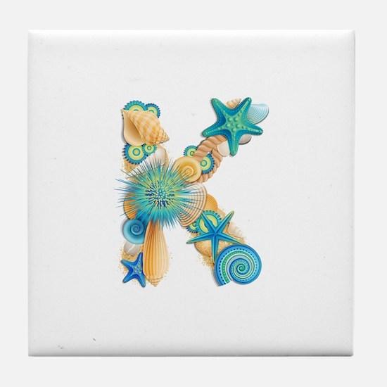 Beach Theme Initial K Tile Coaster