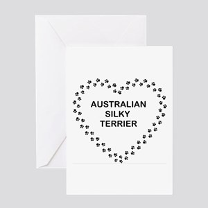 australian silky terrier paw heart Greeting Cards