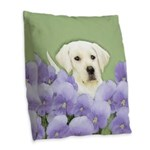 Labrador Retriever Puppy Burlap Throw Pillow