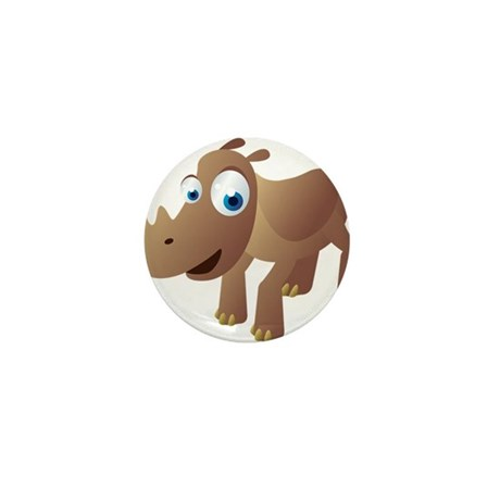 Cartoon Rhino Mini Button (10 pack)