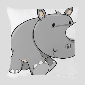 Baby Rhino Woven Throw Pillow