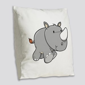 Baby Rhino Burlap Throw Pillow