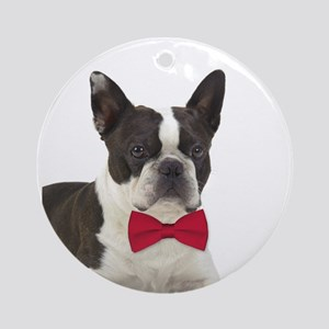 Boston Terrier Christmas Round Ornament