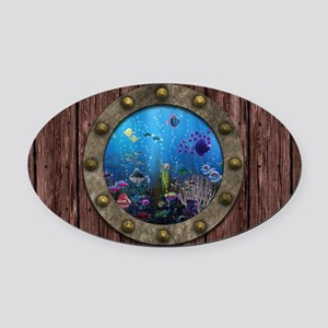 Underwater Love Porthole Oval Car Magnet