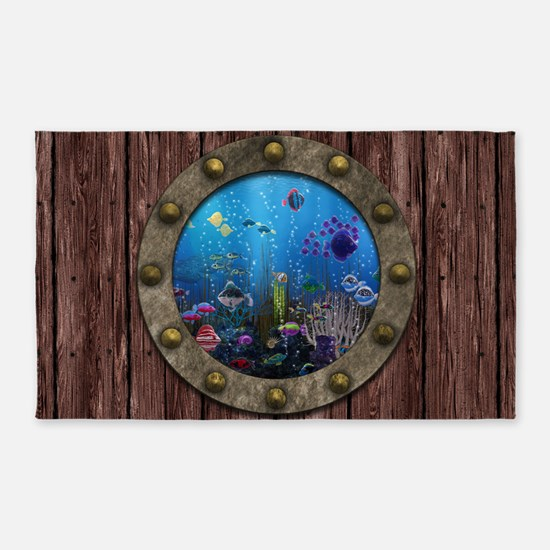 Underwater Love Porthole 3'x5' Area Rug