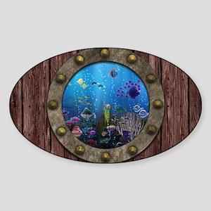 Underwater Love Porthole Sticker (Oval)