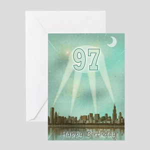 97th birthday spotlights over the city Greeting Ca