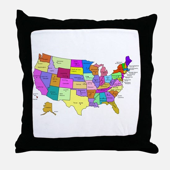 United States and Capital Cities Throw Pillow
