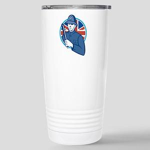 British Bobby Policeman Truncheon Flag Travel Mug