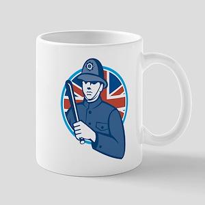 British Bobby Policeman Truncheon Flag Mug