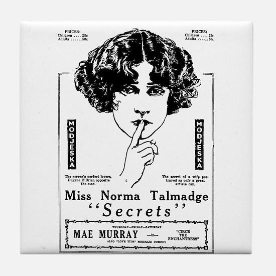 Norma Talmadge Secrets Tile Coaster