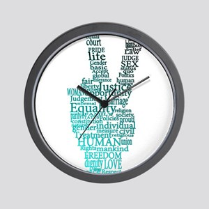 Black and Teal Peace Wall Clock