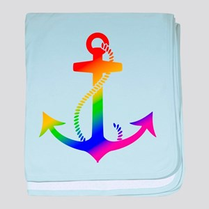 Rainbow Anchor baby blanket
