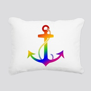 Rainbow Anchor Rectangular Canvas Pillow