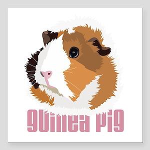 Retro Guinea Pig 'Elsie' (white) Square Car Magnet