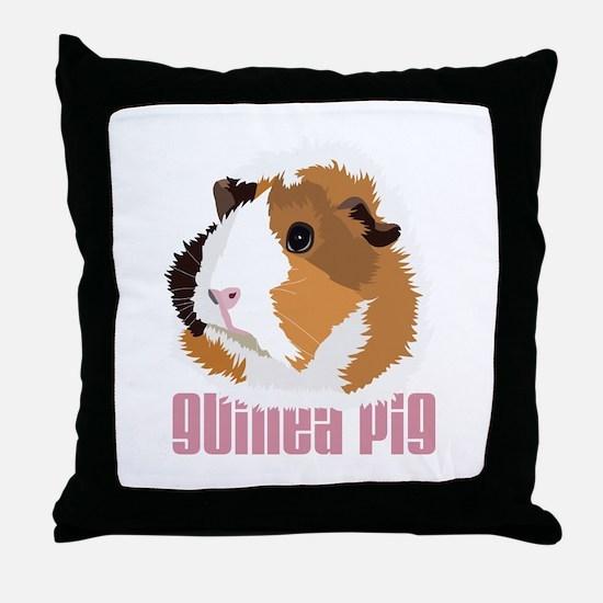 Retro Guinea Pig 'Elsie' (white) Throw Pillow