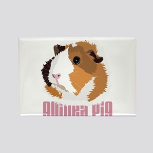 Retro Guinea Pig 'Elsie' (white) Rectangle Magnet