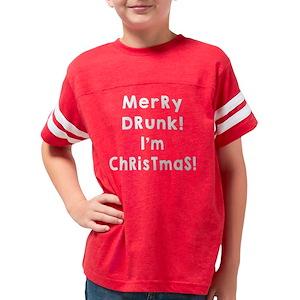 funny christmas kids football t shirts cafepress - Merry Drunk Im Christmas