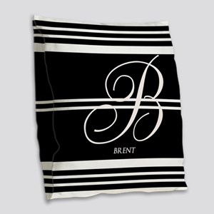Black and White Stripe Monogram Burlap Throw Pillo