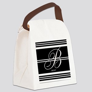 Black and White Stripe Monogram Canvas Lunch Bag