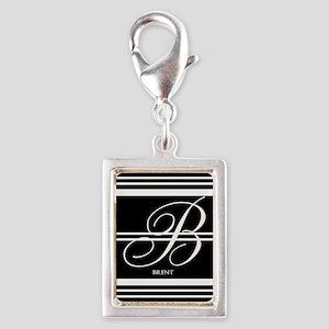 Black and White Stripe Monogram Charms