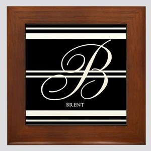 Black and White Stripe Monogram Framed Tile