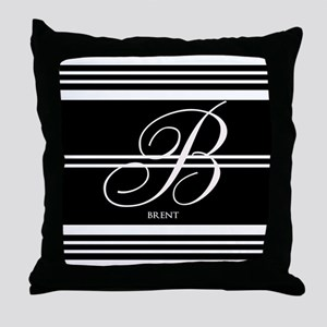 Black and White Stripe Monogram Throw Pillow