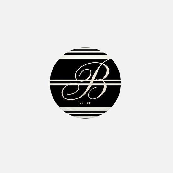 Black and White Stripe Monogram Mini Button