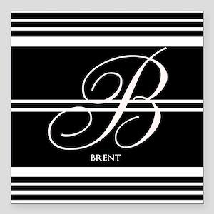 Black and White Stripe Monogram Square Car Magnet