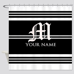 Black and White Stripe Monogram Shower Curtain