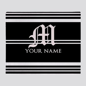 Black and White Stripe Monogram Throw Blanket