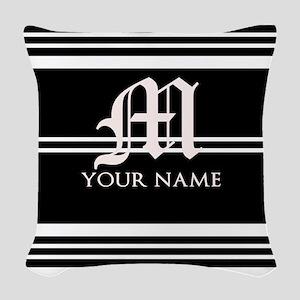 Black and White Stripe Monogram Woven Throw Pillow