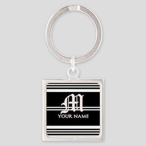 Black and White Stripe Monogram Keychains