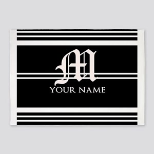 Black and White Stripe Monogram 5'x7'Area Rug