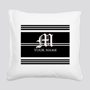 Black and White Stripe Monogram Square Canvas Pill