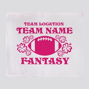 Ladys Hot Pink Fantasy Personalized Throw Blanket