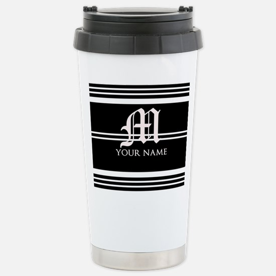 Black and White Stripe Monogram Travel Mug