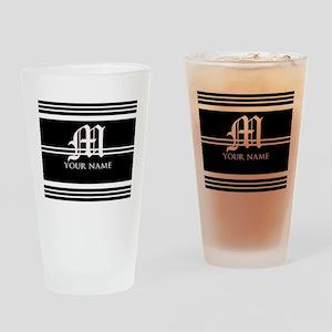 Black and White Stripe Monogram Drinking Glass