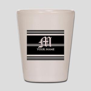 Black and White Stripe Monogram Shot Glass