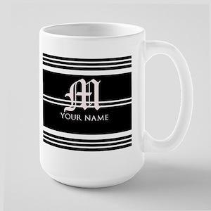 Black and White Stripe Monogram Mug